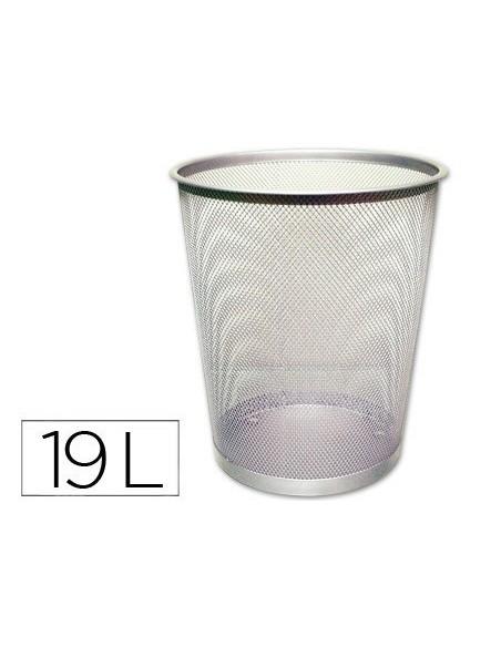 Papelera metálica de refilla plata 29,5x34,5cm 6l