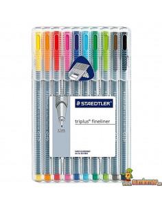 Staedtler Triplus Fineliner Rotuladores de punta fina 10 colores