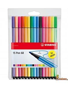 Stabilo Pen 68 Estuche 15 colores estándar y neón
