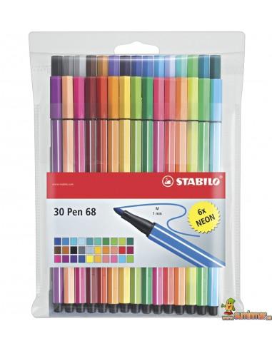 Stabilo Pen 68 Estuche 30 colores estándar y neón