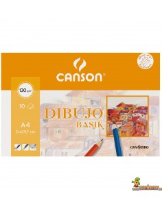 Papel de Dibujo Basik Canson Guarro A4+ 130g 10 hojas