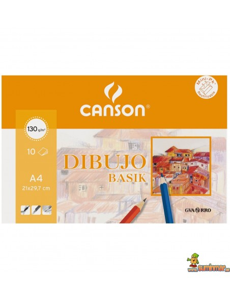 Papel de Dibujo Basik Mini-pk Canson 130g 10 hojas Con recuadro