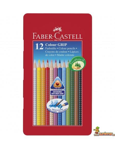 Lápices acuarelables Faber Castell triangulares. Estuche de metal