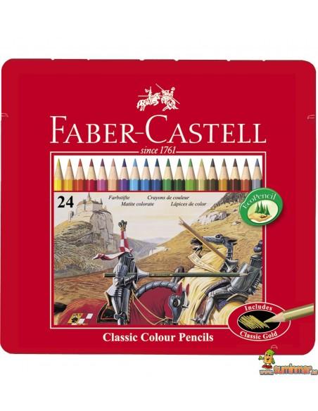 Lápices de colores Faber Castell hexagonales. Estuche de metal