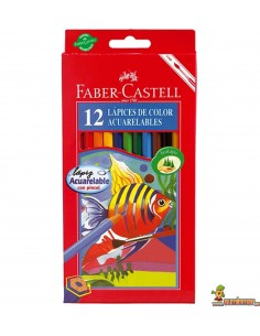 Lápices Acuarelables Faber Castell corte hexagonal 12 colores