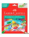 Lápices Acuarelables Faber Castell corte hexagonal 24 colores