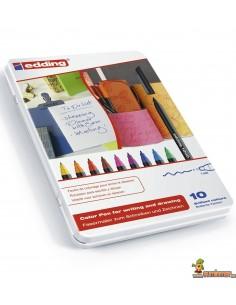 Edding 1200 en caja metálica 10 colores