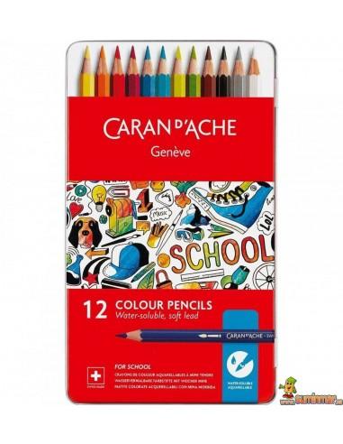Lápices de colores Acuarelables Caran D'Ache Estuche de Metal 12 ud