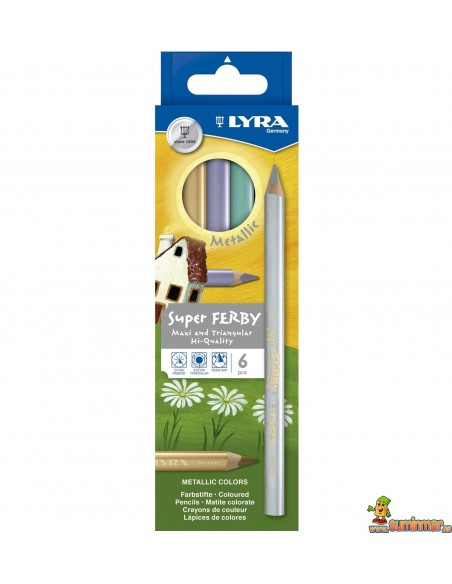 Lyra Super Ferby Metallic 6 Lápices de Colores Metálicos