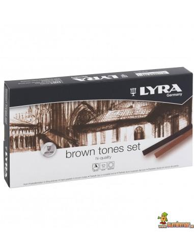 Tiza Pastel LYRA en tonos marrones 12 ud