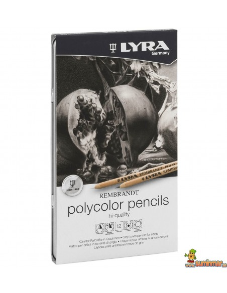 LYRA Rembrandt Polycolor Tonos Grises Caja de 12 ud