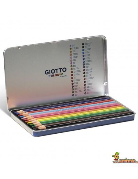 Giotto Stilnovo Acquarell Estuche de metal 12 ud