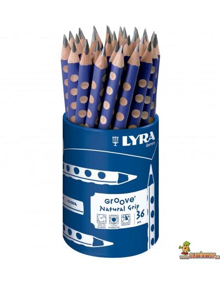 Bote lápices de grafito LYRA Groove 36 ud