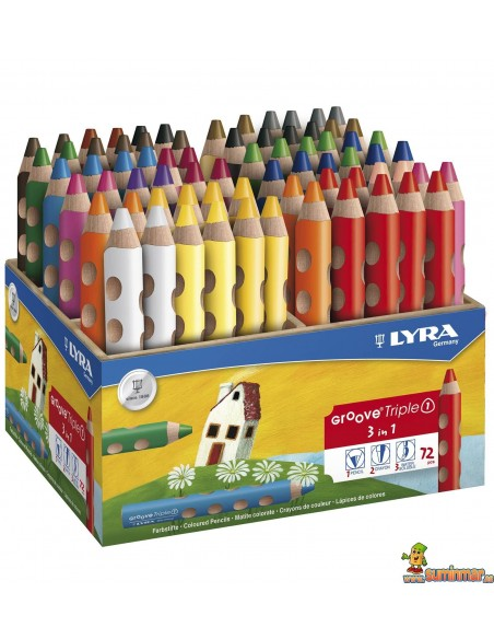 Lápices de colores LYRA Groove Triple 3 en 1 Schoolpack 72 ud