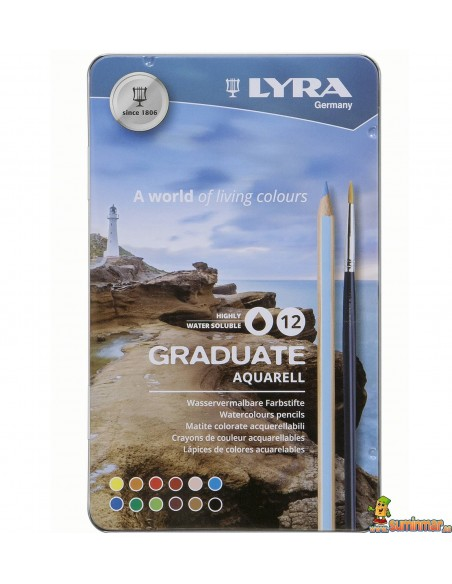 LYRA Graduate Aquarell Caja Lápices de colores acuarelables 12 ud + pincel