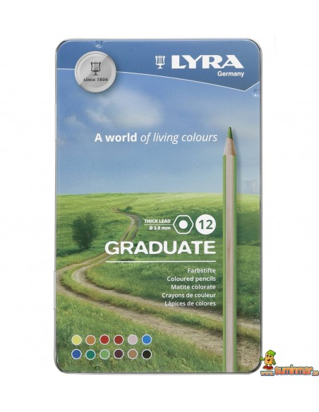 LYRA Graduate Caja metálica de lápices de colores 12 ud