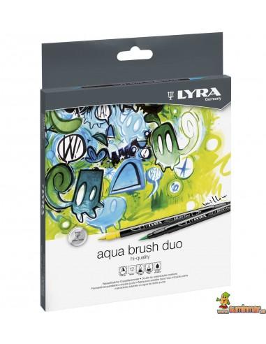 Rotuladores con punta de pincel LYRA Aqua Brush Duo 12 uds