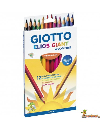 Lápices Giotto Elios Giant wood free 12 colores