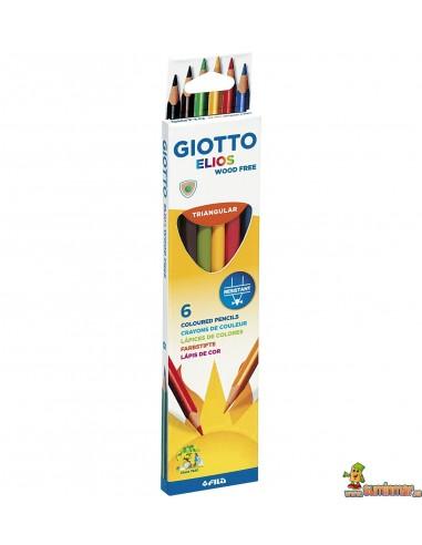 Lápices Giotto Elios Triangular Wood free Caja 6