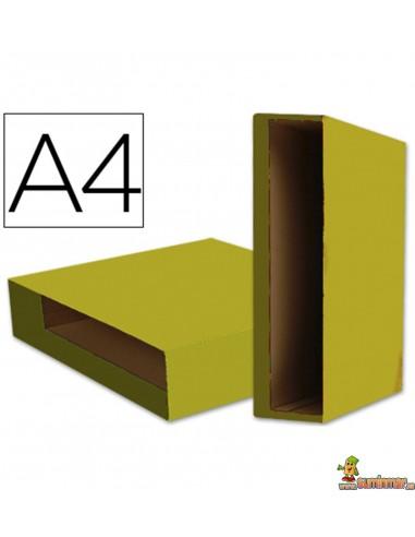 Caja para archivador plastificado DIN A4 lomo 80mm amarillo