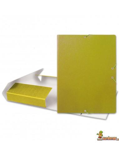 Carpeta De Proyectos De Cartón Gofrado Con Gomas 50 mm. Liderpapel Amarillo