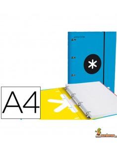 Carpeta 4 anillas de 25mm Antartik DIN A4. Incluye recambio. Azul