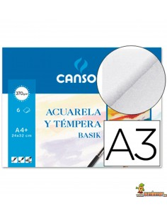 Papel Acuarela y Témpera Basik Canson A3 370g/m2 6 hojas