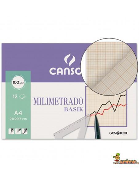 Papel Milimetrado Minipack. A4. 100 g/m². 12 hojas. Canson