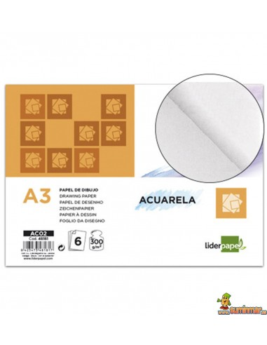 Papel Acuarela Minipack.A3. 300 g/m². 6 hojas. Liderpapel