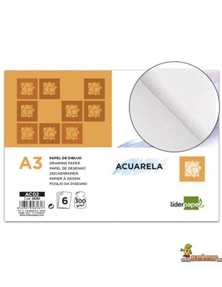 Papel Acuarela Minipack.A3. 300 g/m². 6 hojas