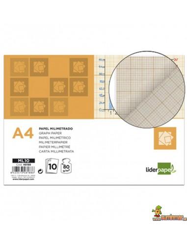 Papel Milimetrado. A4. 1 mm. 80 g/m². 10 hojas. Liderpapel