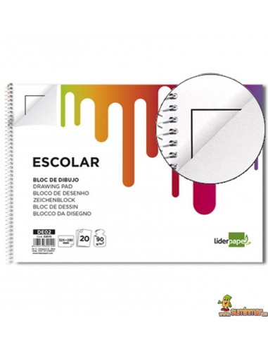 Bloc de Dibujo Folio 90 g/m² 20 hojas Con recuadro