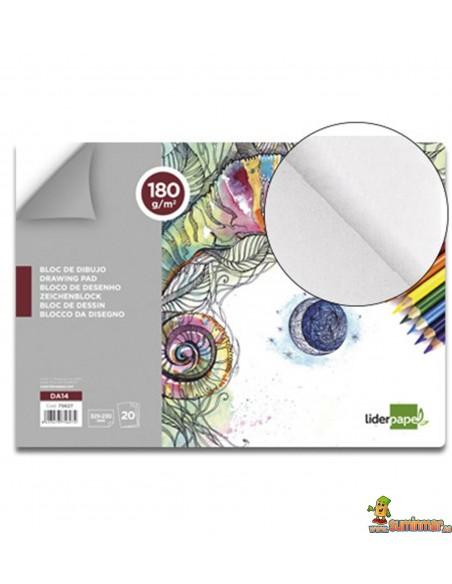 Bloc de dibujo encolado Folio 180 g/m² 20 hojas