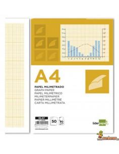 Papel Milimetrado. A4. 80 g/m². 50 hojas. Liderpapel