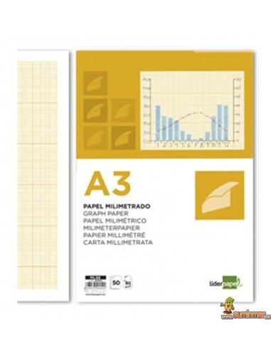 Papel Milimetrado. A3. 80 g/m². 50 hojas. Liderpapel