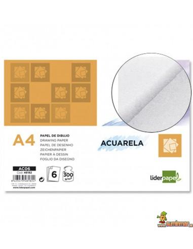 Papel Acuarela A4 300 g/m² 6 hojas