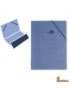 Carpeta de cartón tamaño folio con gomas elásticas y 1 solapa color azul