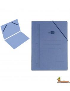 Carpeta de cartón tamaño folio con gomas elásticas azul