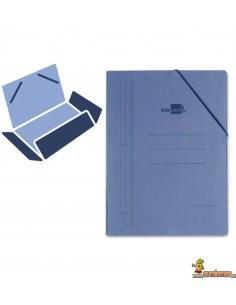 Carpeta de cartón tamaño folio con gomas elásticas, 3 solapas