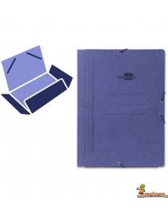 Carpeta de cartón tamaño folio con gomas elásticas y 3 solapas