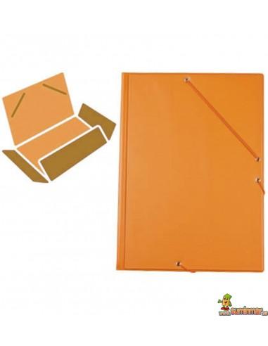 Carpeta De Gomas Plástico. Folio. 3 solapas. Liderpapel naranja