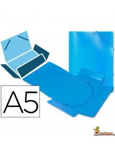 Carpeta de lomo flexible DIN A5 con gomas elásticas azul
