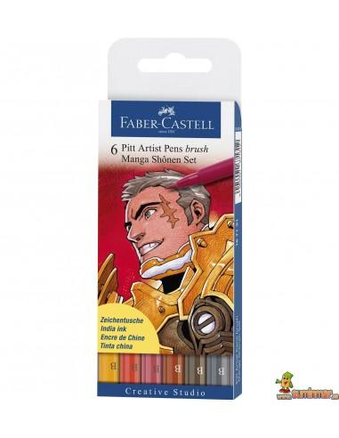 Faber Castell Manga Shonen. 6 x PITT Artist Pen