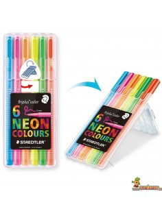 Rotulador Triplus Color Estuches Exclusivos Neón Staedtler 6 UDS