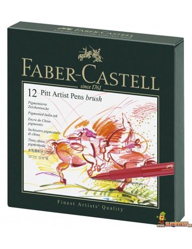 Rotuladores PITT Faber-Castell. Caja de 12 rotuladores con punta de pincel