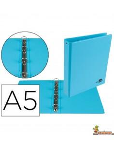 Carpeta 4 anillas de 25 mm DIN A5 azul celeste
