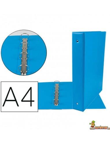 Carpeta 4 anillas de 40 mm DINA4 azul celeste