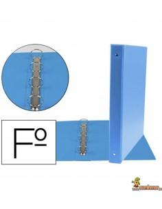 Carpeta 4 anillas de 25 mm tamaño Folio azul celeste