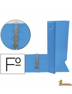 Carpeta 4 anillas de 40 mm tamaño Folio azul celeste
