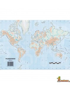 Mapa mudo Planisferio A4